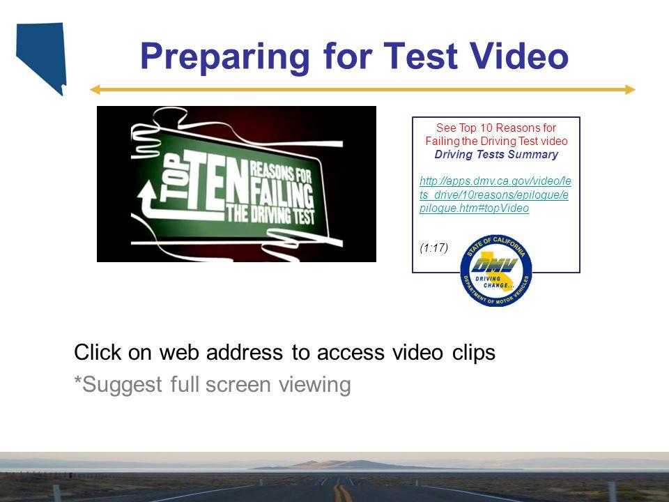 Preparing for Test Video