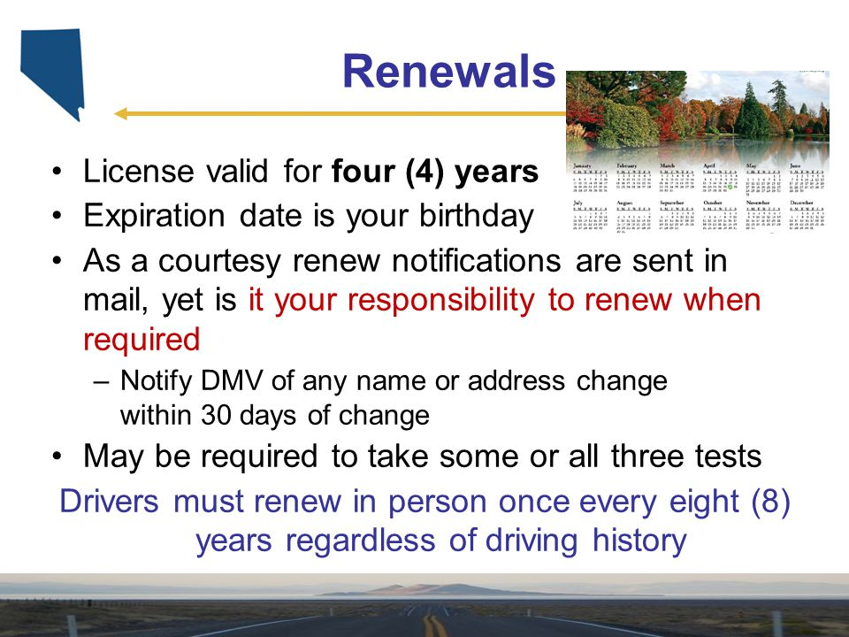 Renewals License valid for four (4) years
