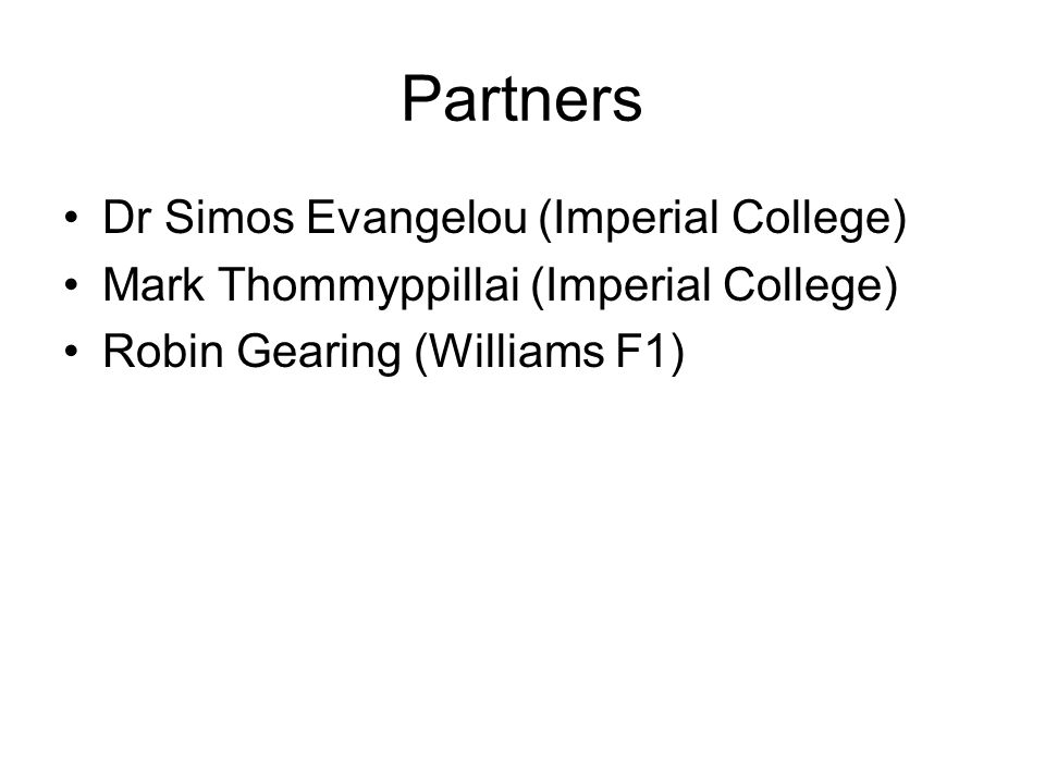 Partners Dr Simos Evangelou (Imperial College)