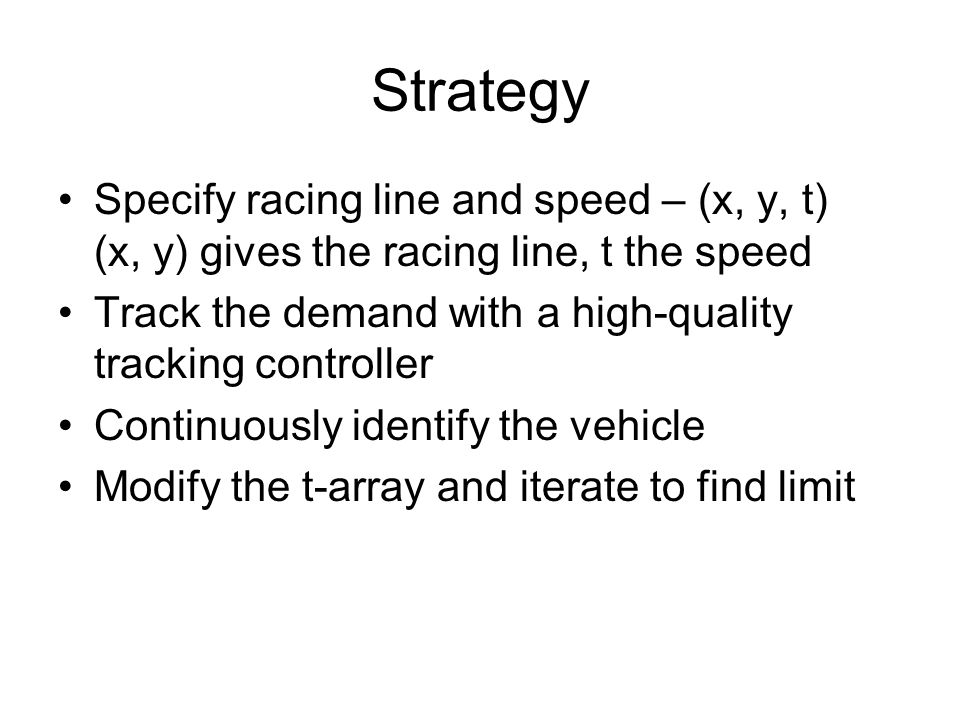 Strategy Specify racing line and speed – (x, y, t) (x, y) gives the racing line, t the speed.
