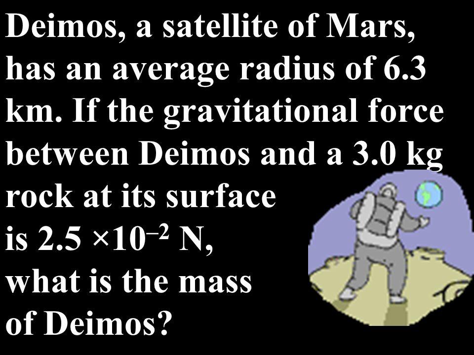 Deimos, a satellite of Mars, has an average radius of 6. 3 km