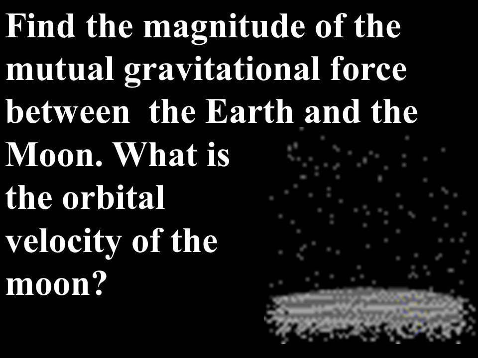 Find the magnitude of the mutual gravitational force between the Earth and the Moon. What is