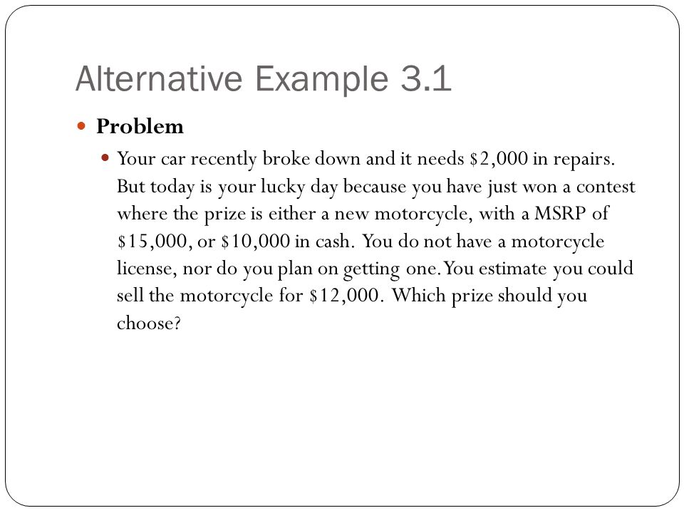 Alternative Example 3.1 Problem