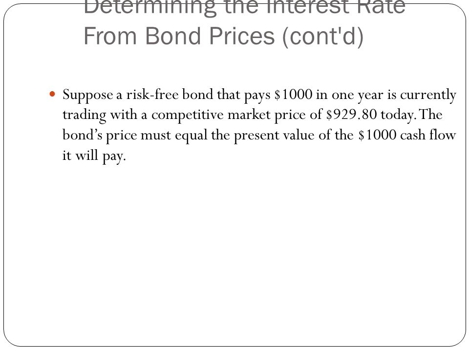 Determining the Interest Rate From Bond Prices (cont d)