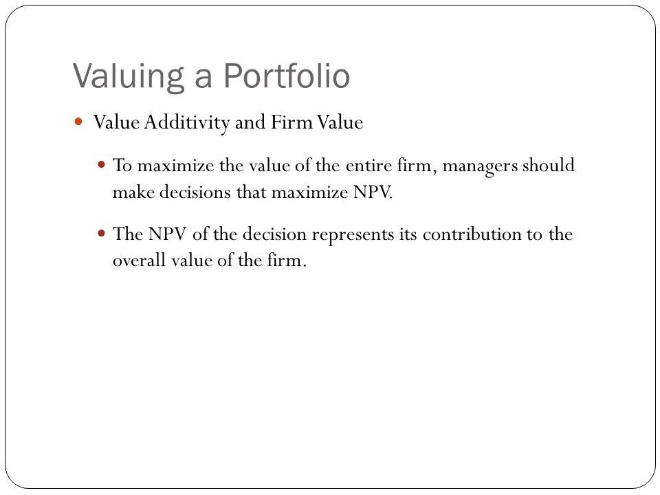 Valuing a Portfolio Value Additivity and Firm Value