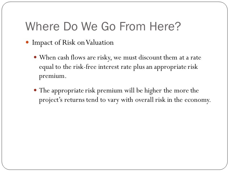 Where Do We Go From Here Impact of Risk on Valuation