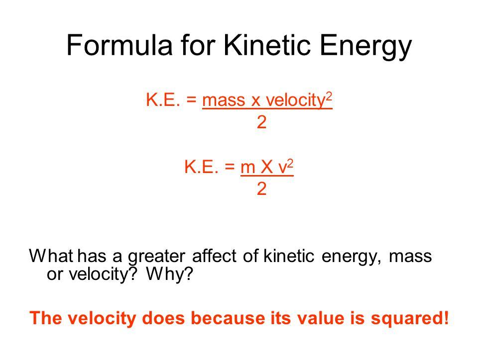 Formula for Kinetic Energy