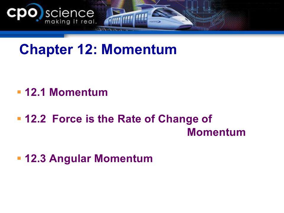 Chapter 12: Momentum 12.1 Momentum