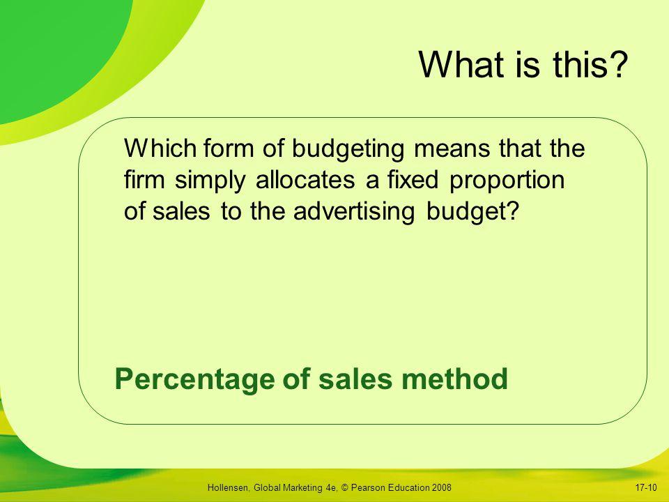 What is this Percentage of sales method