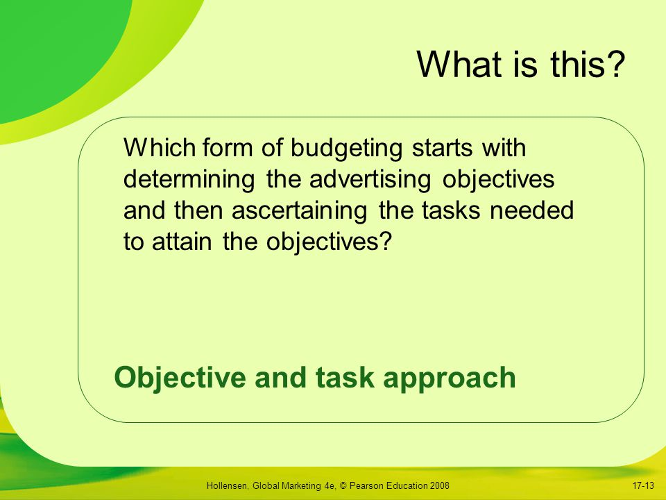 What is this Objective and task approach