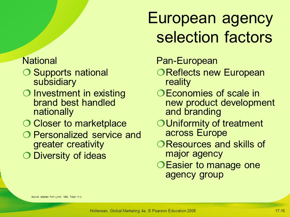 European agency selection factors