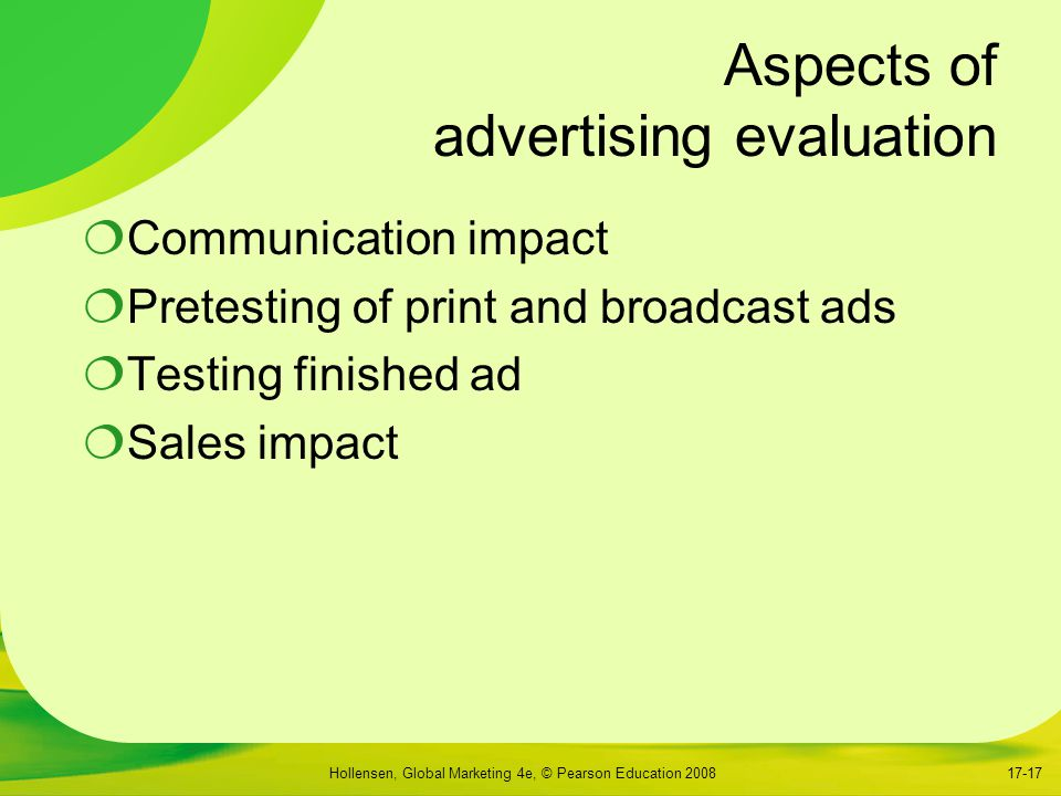 Aspects of advertising evaluation