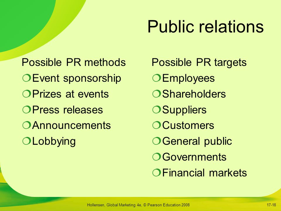 Public relations Possible PR methods Event sponsorship