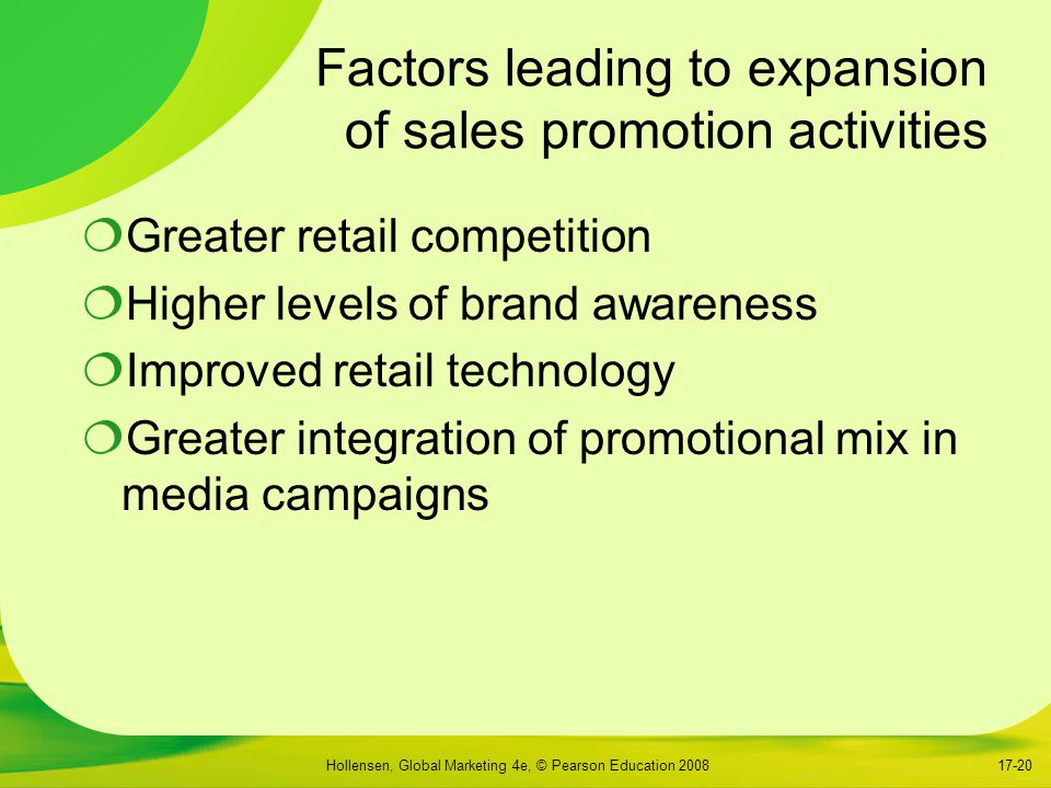 Factors leading to expansion of sales promotion activities