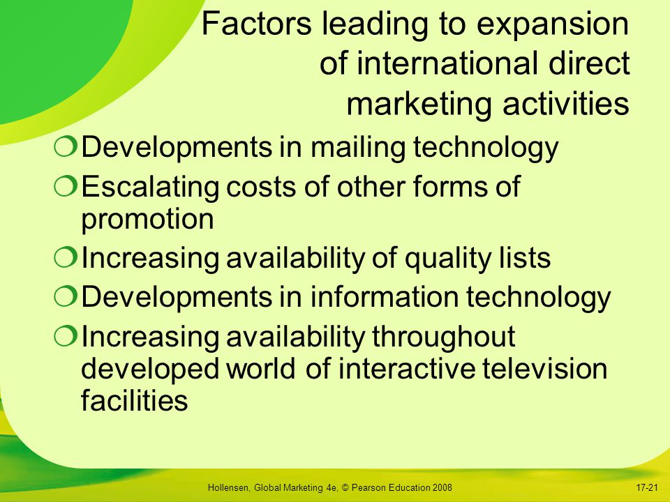 Factors leading to expansion of international direct marketing activities