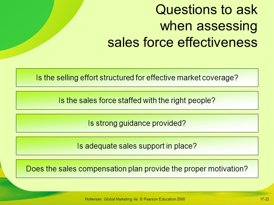 Questions to ask when assessing sales force effectiveness