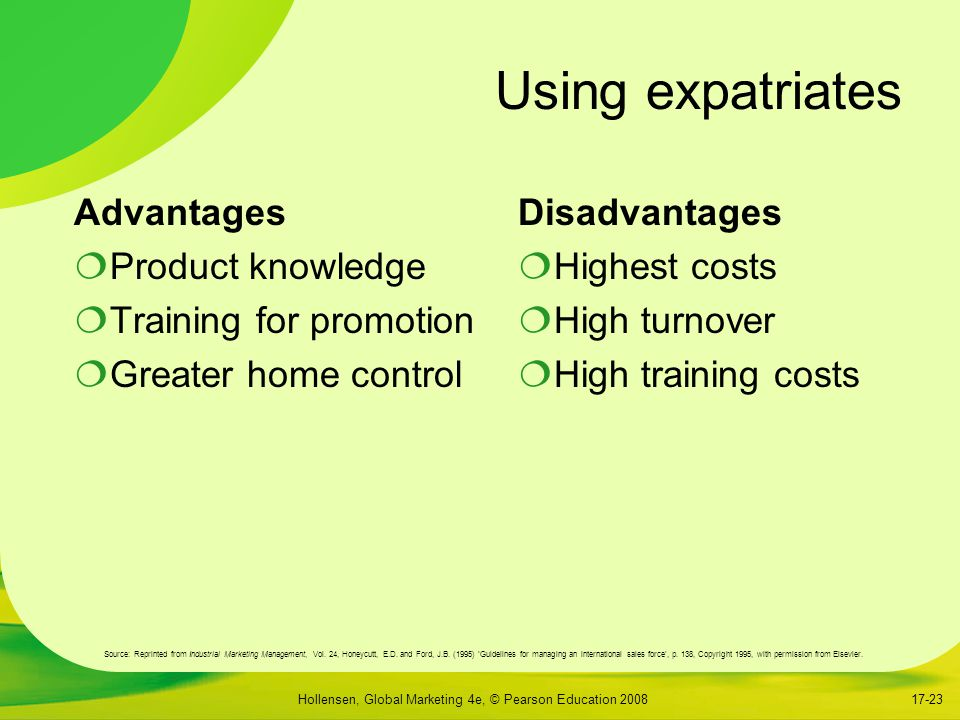 Using expatriates Advantages Product knowledge Training for promotion