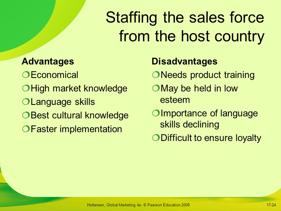 Staffing the sales force from the host country