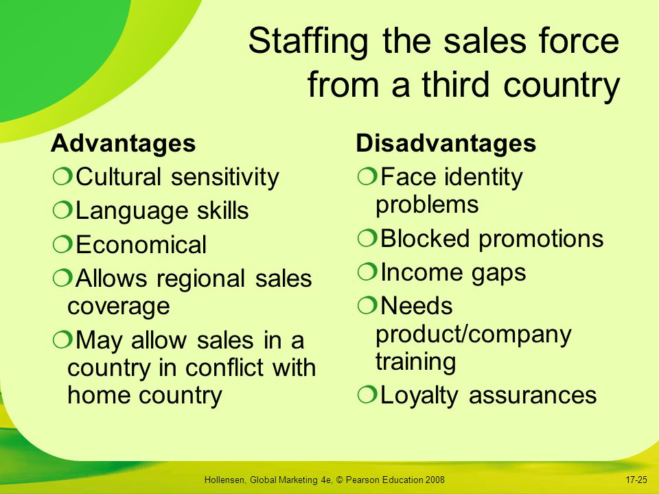 Staffing the sales force from a third country