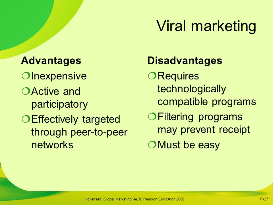 Viral marketing Advantages Inexpensive Active and participatory