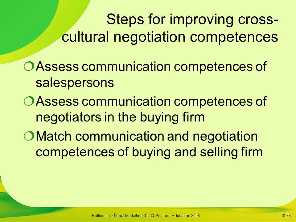 Steps for improving cross- cultural negotiation competences