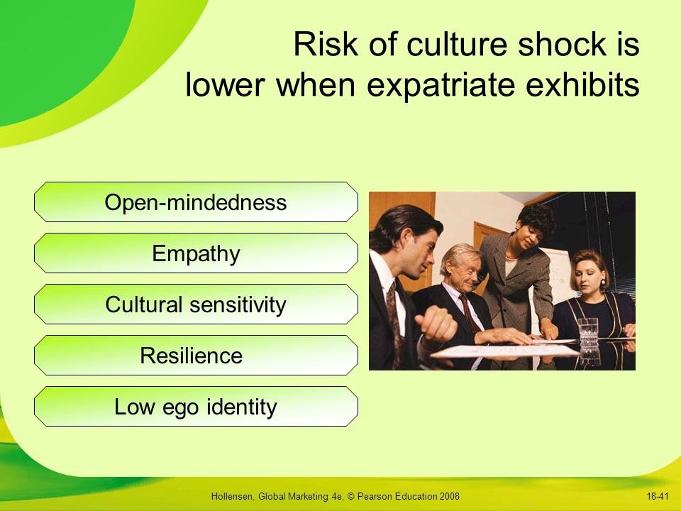Risk of culture shock is lower when expatriate exhibits