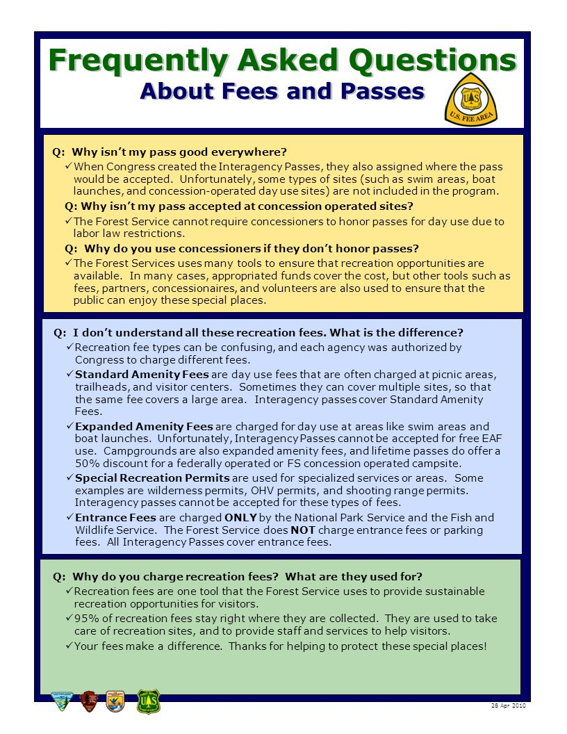 Frequently Asked Questions About Fees and Passes