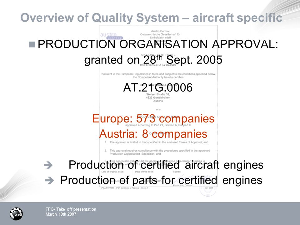Overview of Quality System – aircraft specific