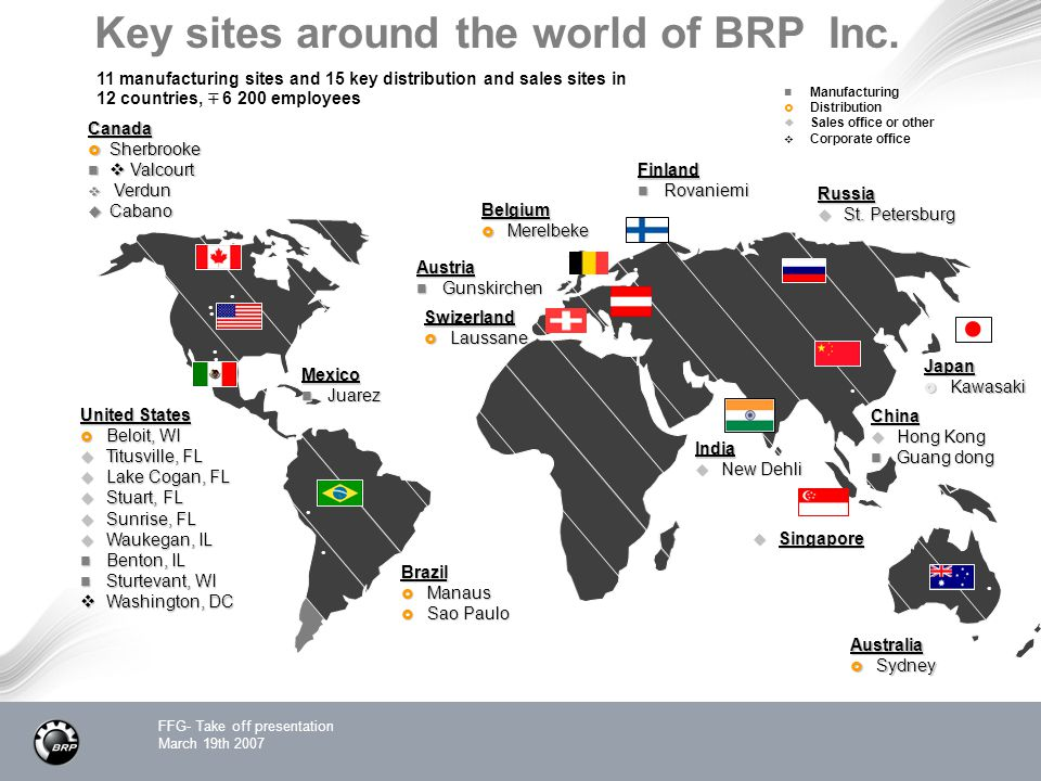 Key sites around the world of BRP Inc.