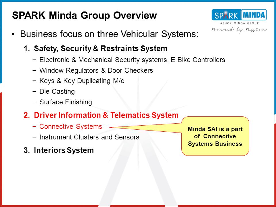 Minda SAI is a part of Connective Systems Business