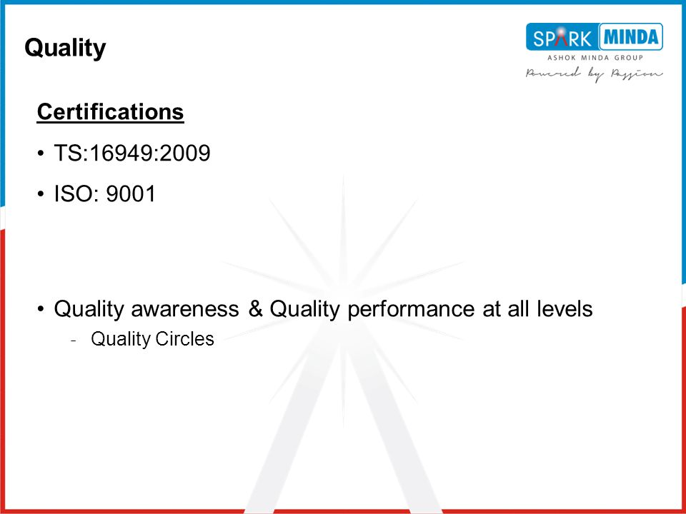 Quality Certifications TS:16949:2009 ISO: 9001