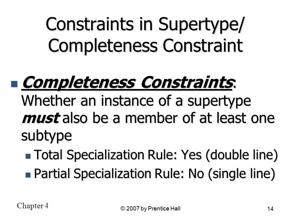 Constraints in Supertype/ Completeness Constraint