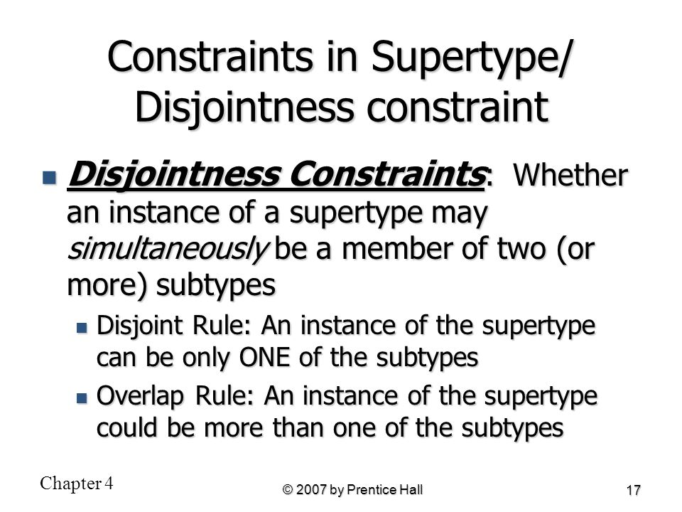 Constraints in Supertype/ Disjointness constraint