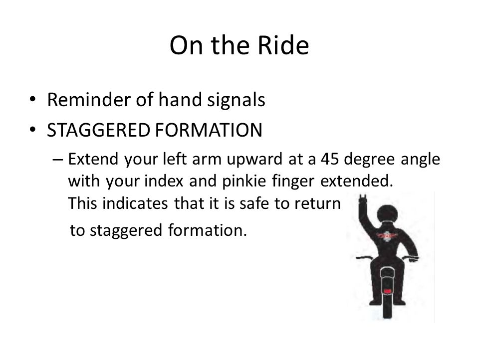 On the Ride Reminder of hand signals STAGGERED FORMATION