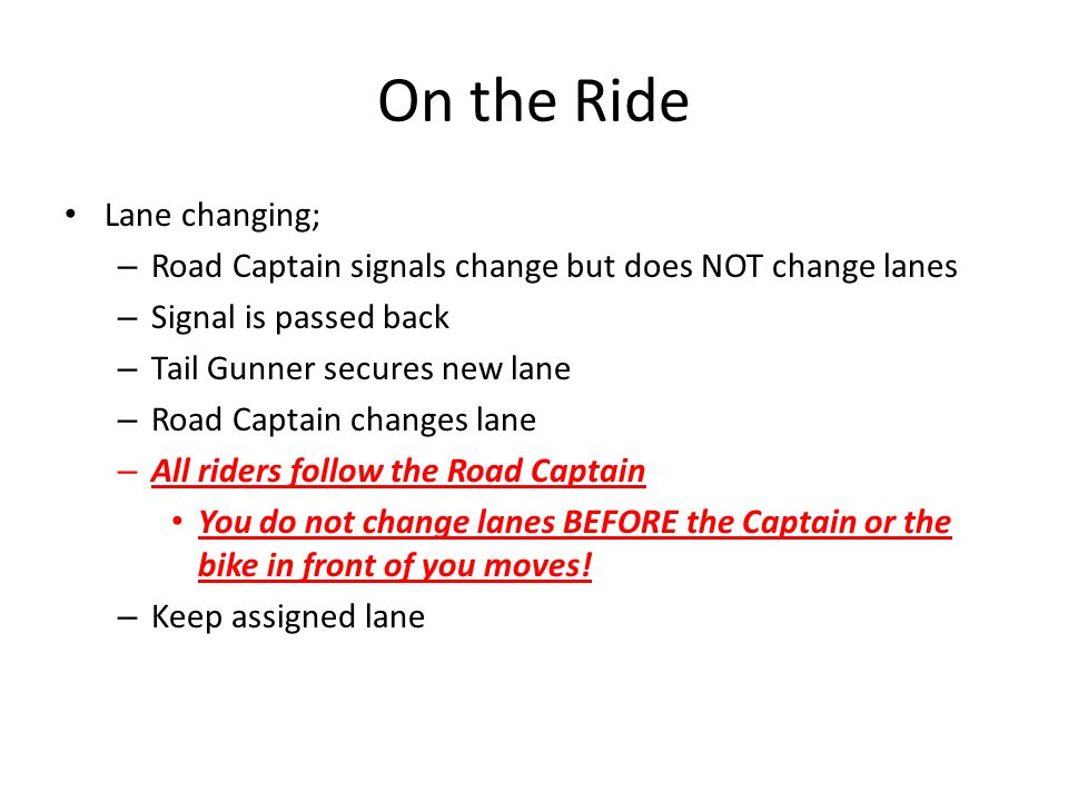 On the Ride Lane changing;