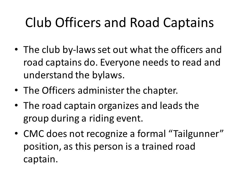 Club Officers and Road Captains