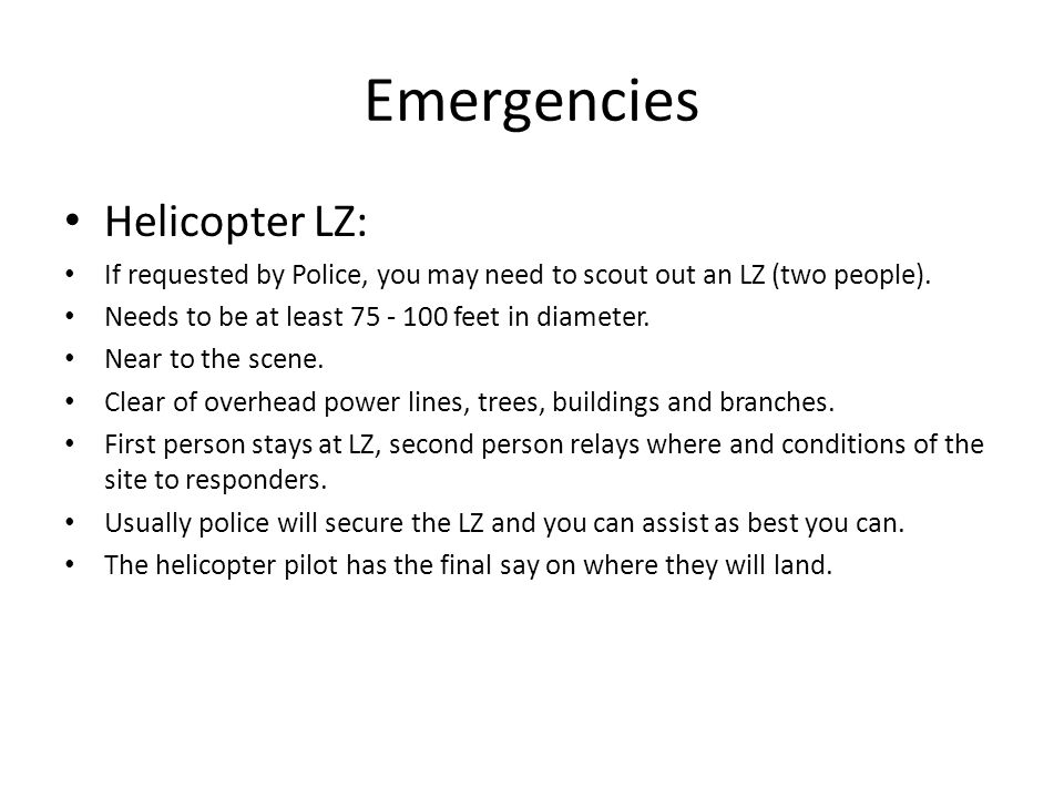 Emergencies Helicopter LZ: