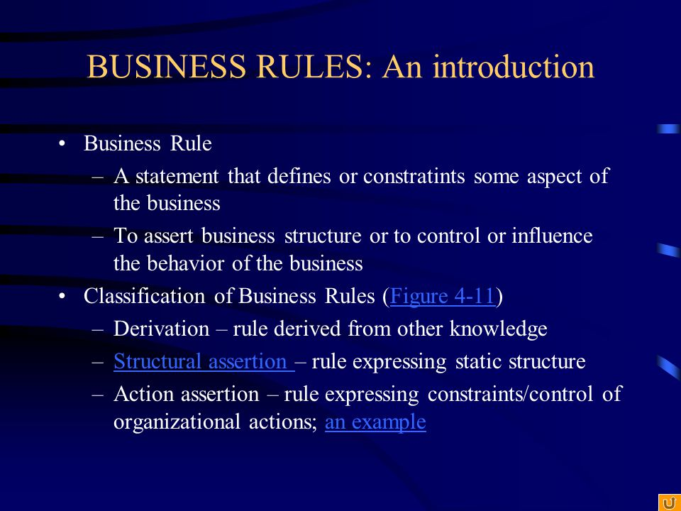 BUSINESS RULES: An introduction