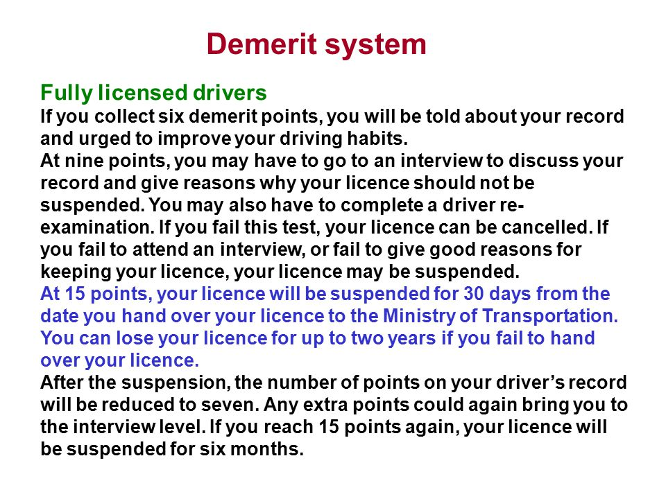 Demerit system Fully licensed drivers