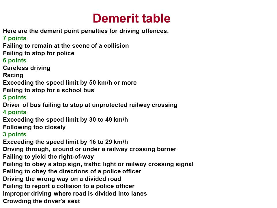 Demerit table Here are the demerit point penalties for driving offences. 7 points. Failing to remain at the scene of a collision.