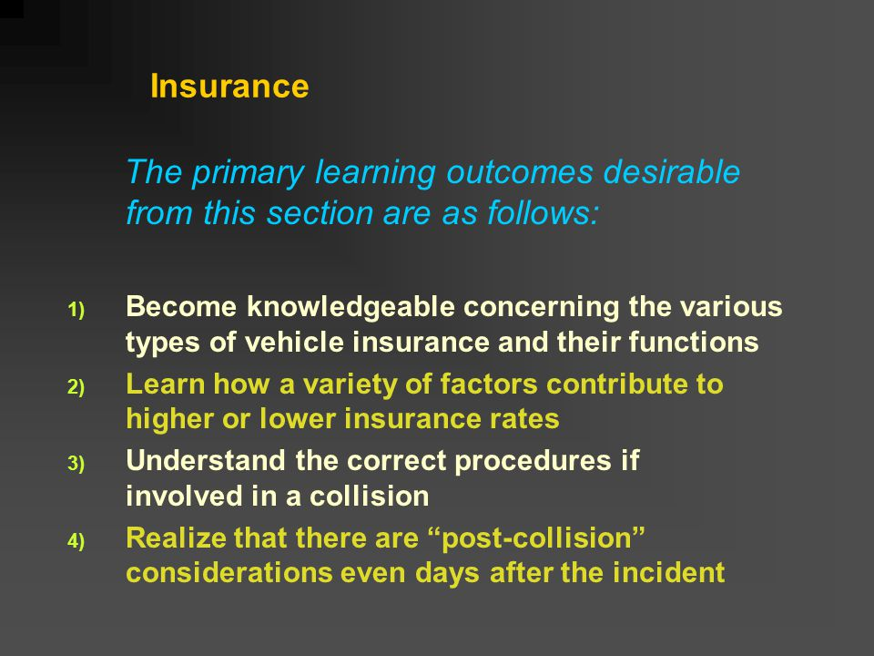 Insurance The primary learning outcomes desirable from this section are as follows: