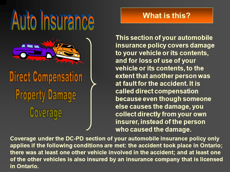 Auto Insurance Direct Compensation Property Damage Coverage