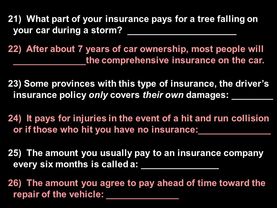 21) What part of your insurance pays for a tree falling on your car during a storm _____________________