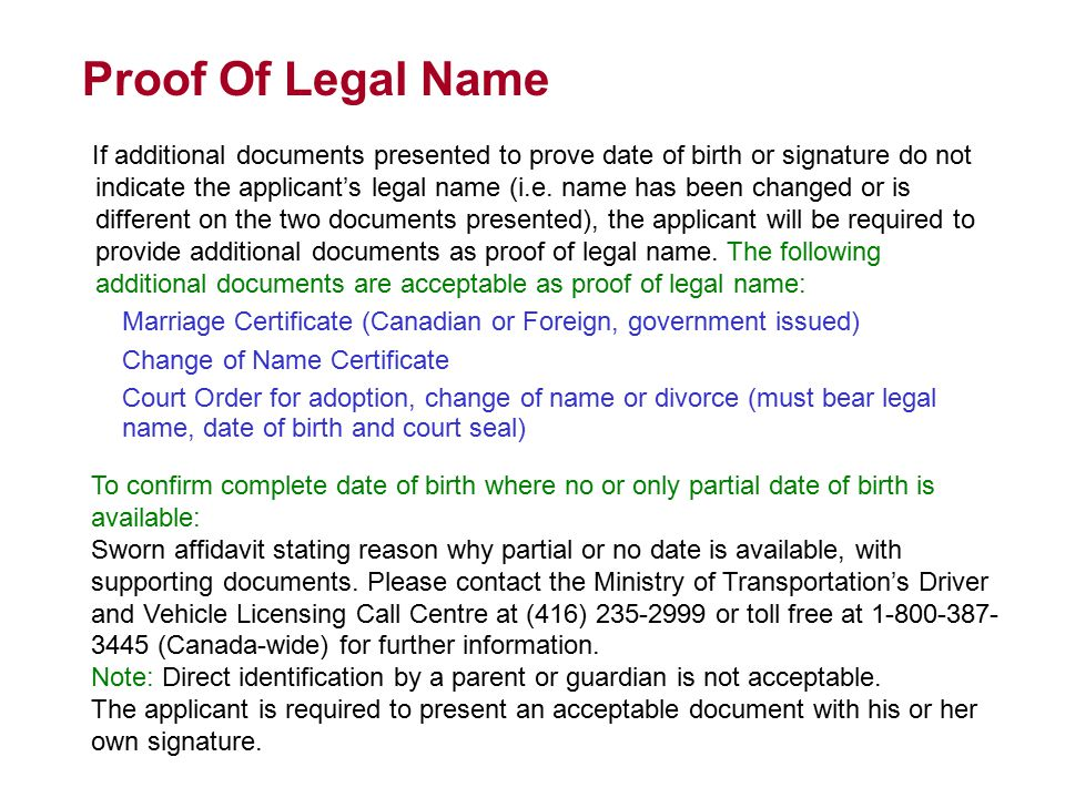Proof Of Legal Name
