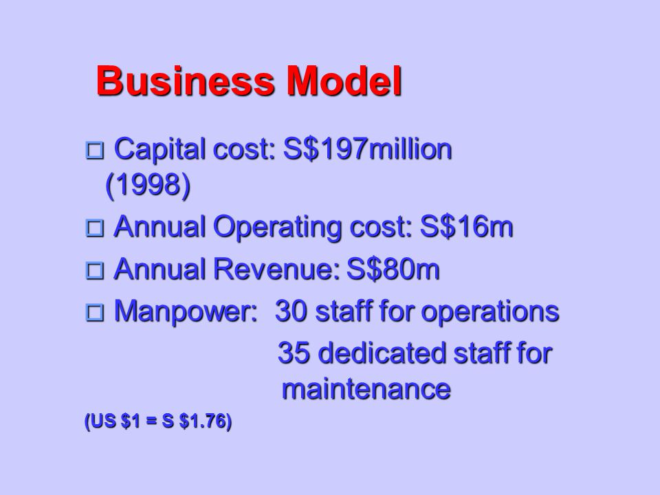 Business Model Capital cost: S$197million (1998)