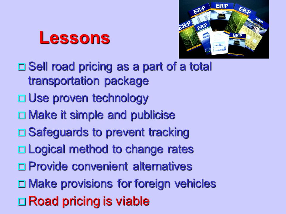 Lessons Road pricing is viable