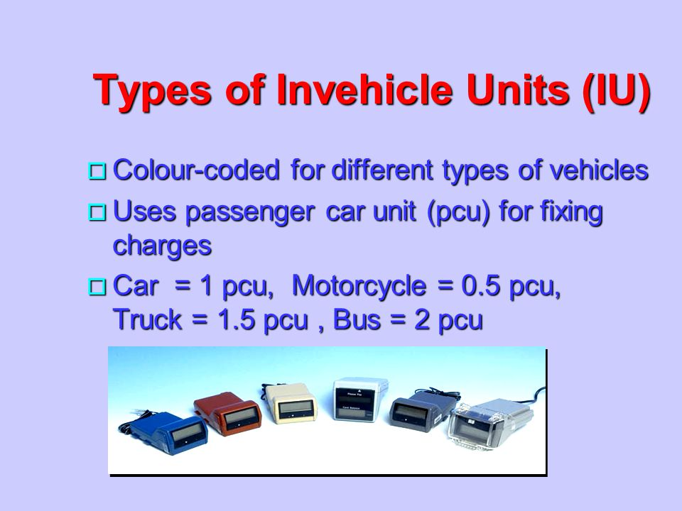 Types of Invehicle Units (IU)
