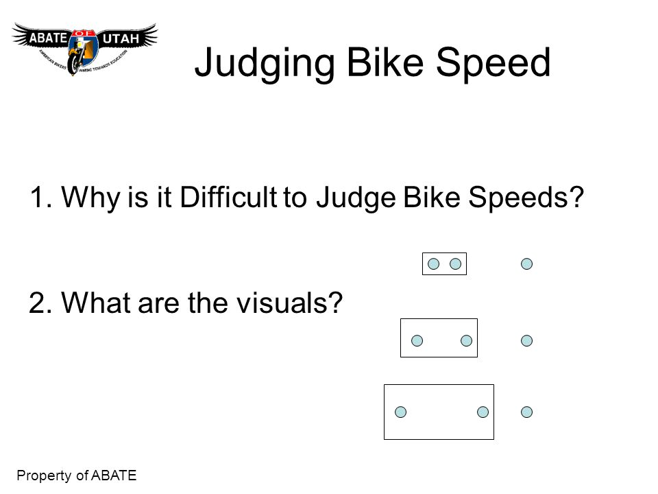Judging Bike Speed 1. Why is it Difficult to Judge Bike Speeds
