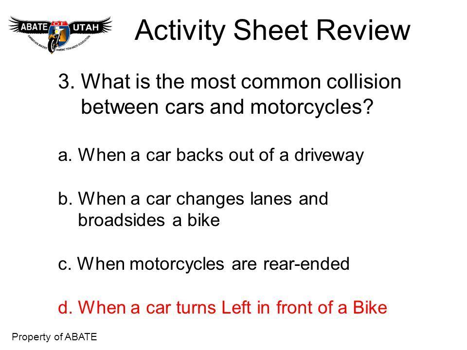Activity Sheet Review 3. What is the most common collision