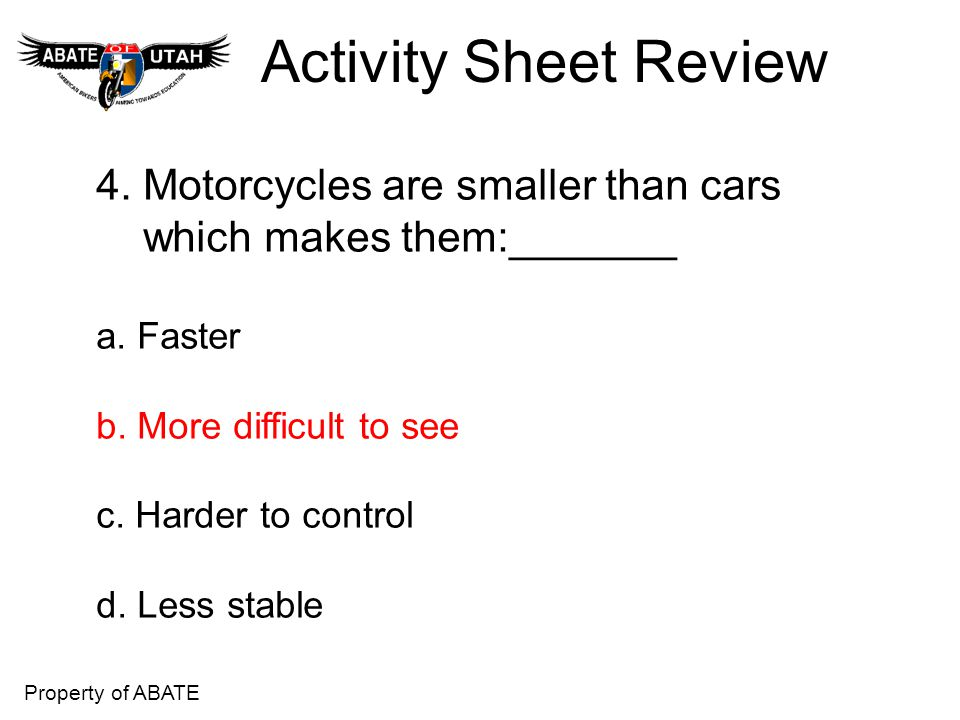 Activity Sheet Review 4. Motorcycles are smaller than cars